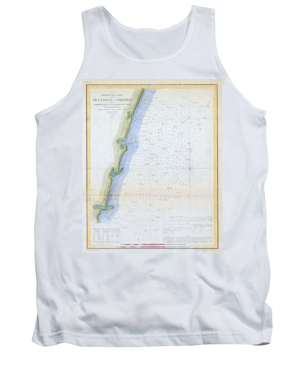 Tank Top featuring the photograph 1853 U.s.c.s. Map Of The Virginia Coast by Paul Fearn