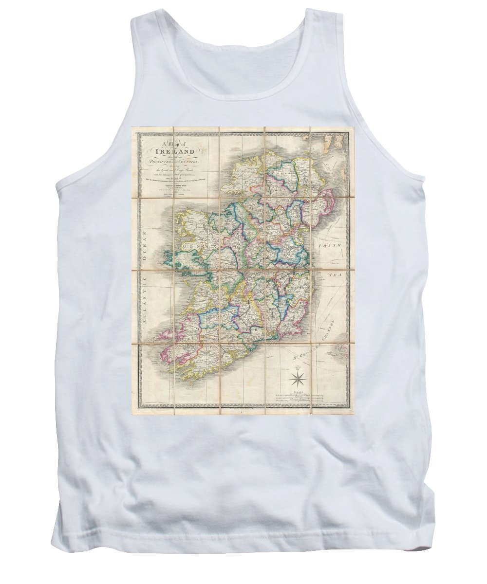 Tank Top featuring the photograph 1853 Wyld Pocket Or Case Map Of Ireland by Paul Fearn