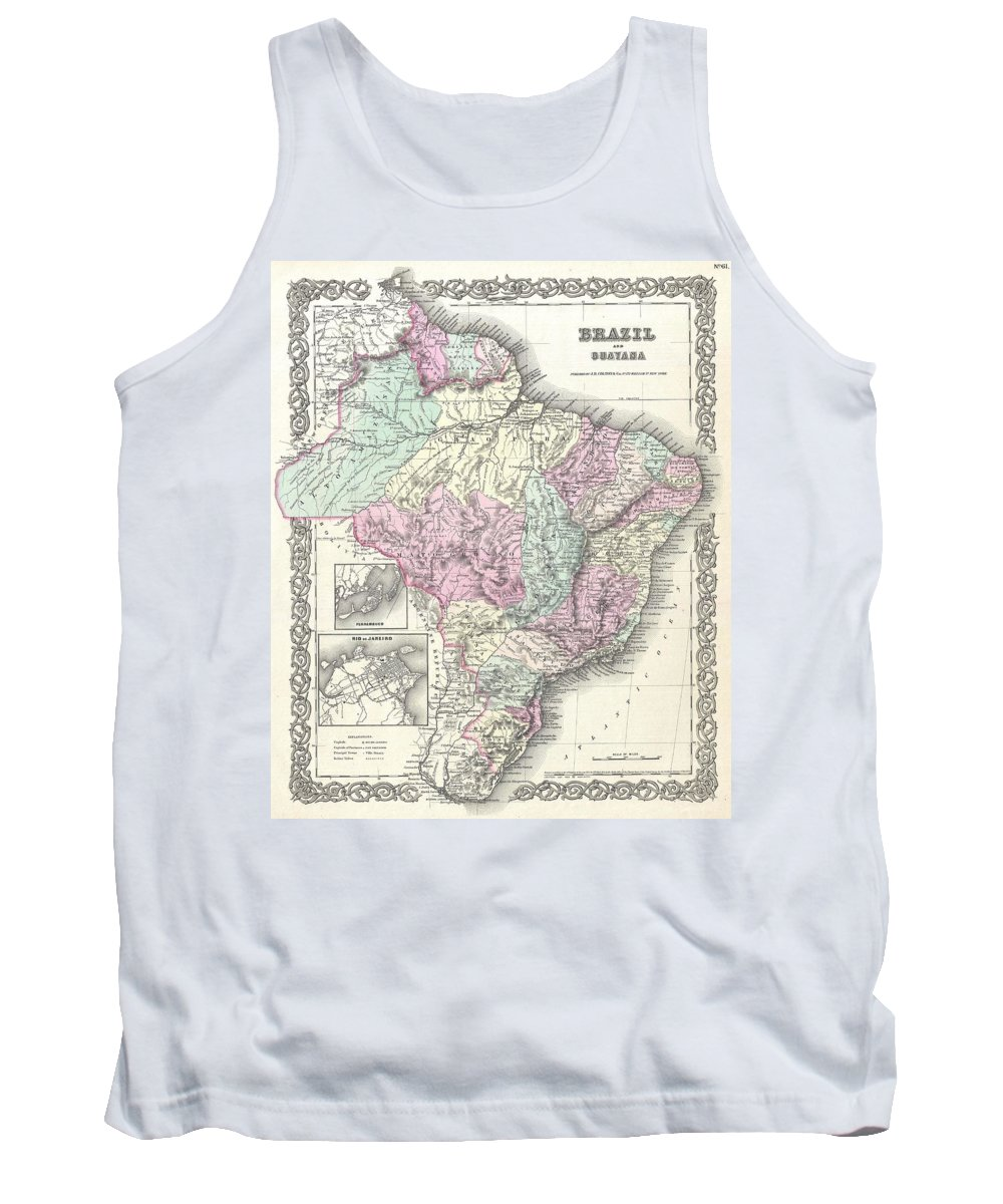 Tank Top featuring the photograph 1855 Colton Map Of Brazil And Guyana by Paul Fearn