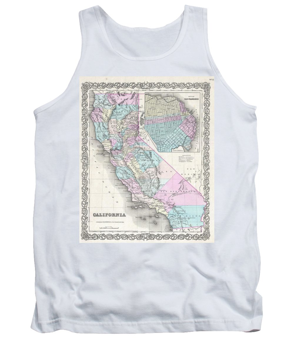 Tank Top featuring the photograph 1855 Colton Map Of California And San Francisco by Paul Fearn