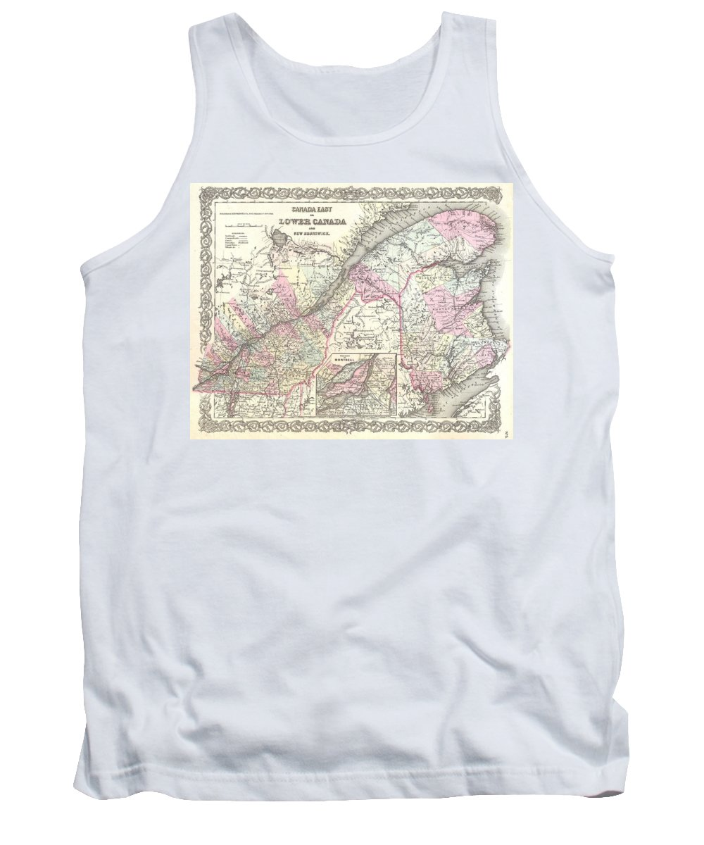 Tank Top featuring the photograph 1855 Colton Map Of Canada East Or Quebec by Paul Fearn