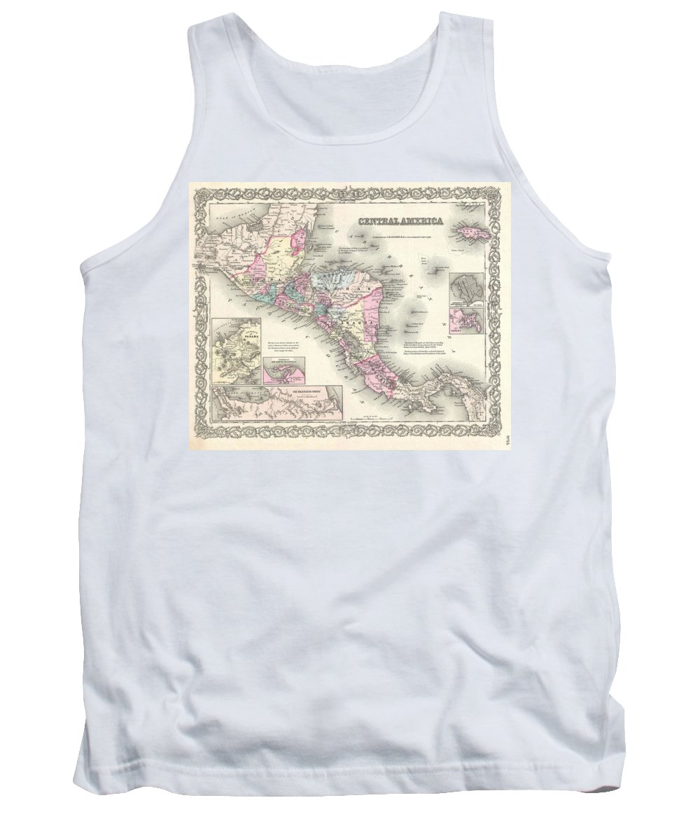 Tank Top featuring the photograph 1855 Colton Map Of Central America And Jamaica by Paul Fearn
