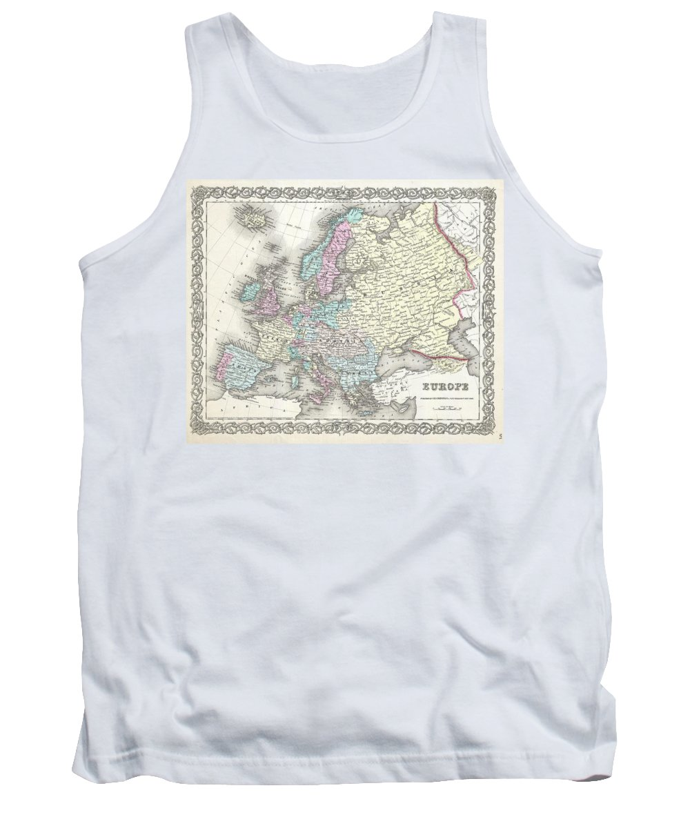 Tank Top featuring the photograph 1855 Colton Map Of Europe by Paul Fearn
