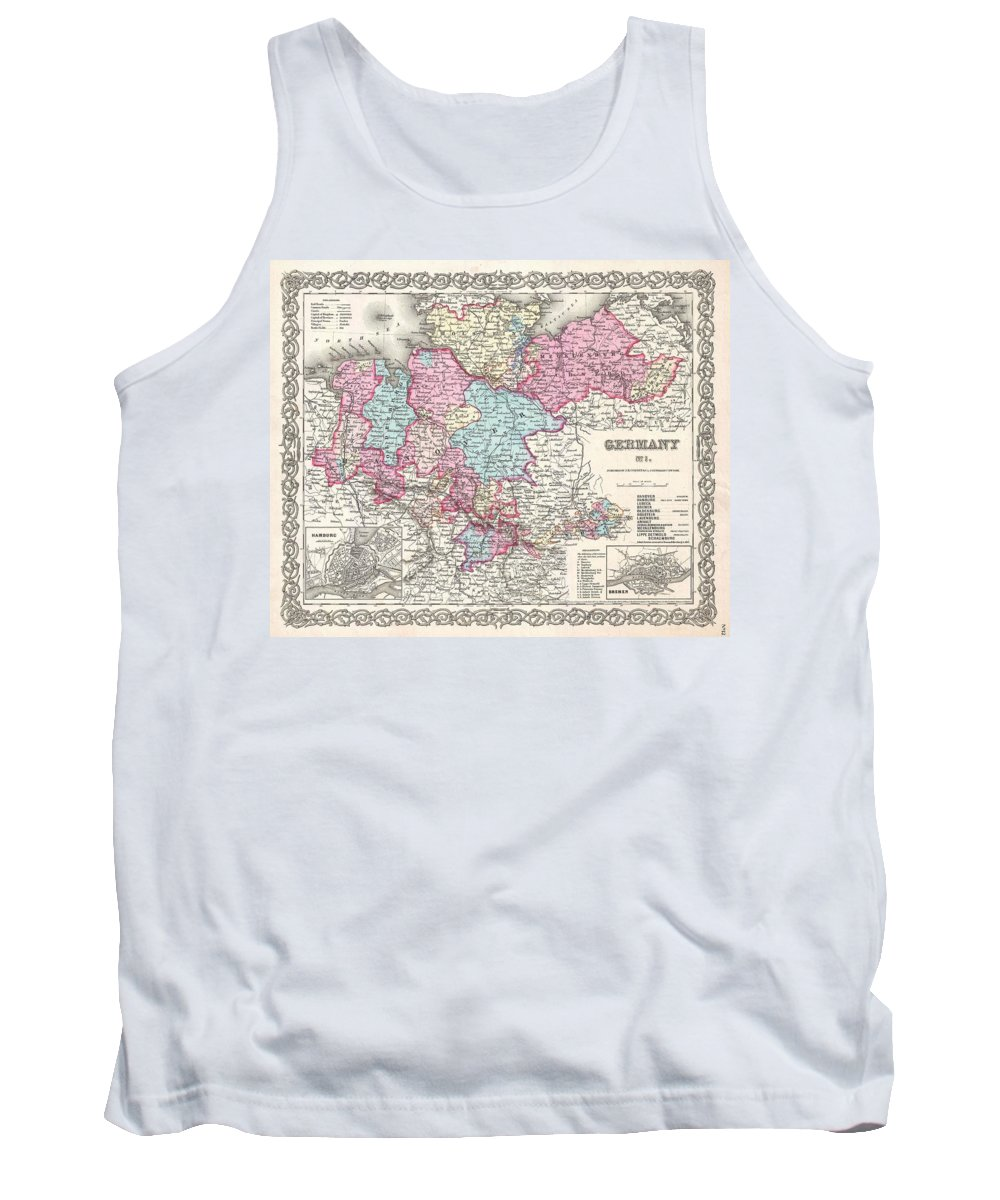 Tank Top featuring the photograph 1855 Colton Map Of Hanover And Holstein Germany by Paul Fearn