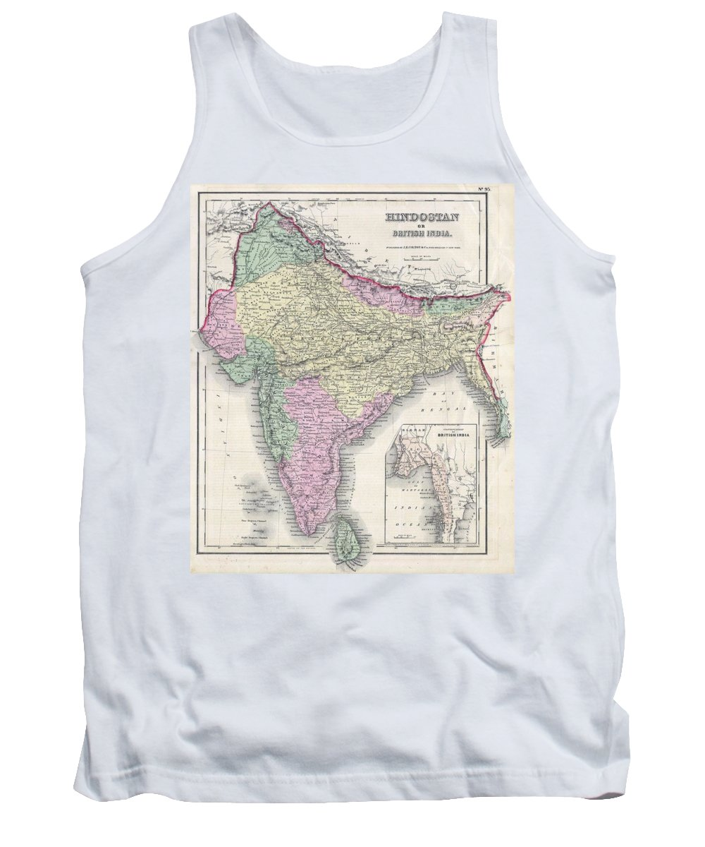 Tank Top featuring the photograph 1855 Colton Map Of India Or Hindostan by Paul Fearn