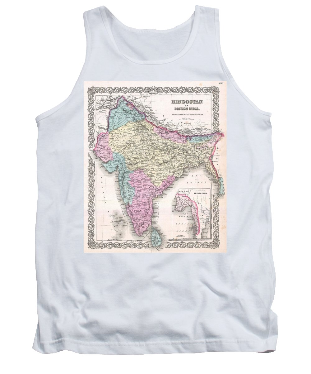 Tank Top featuring the photograph 1855 Colton Map Of India by Paul Fearn