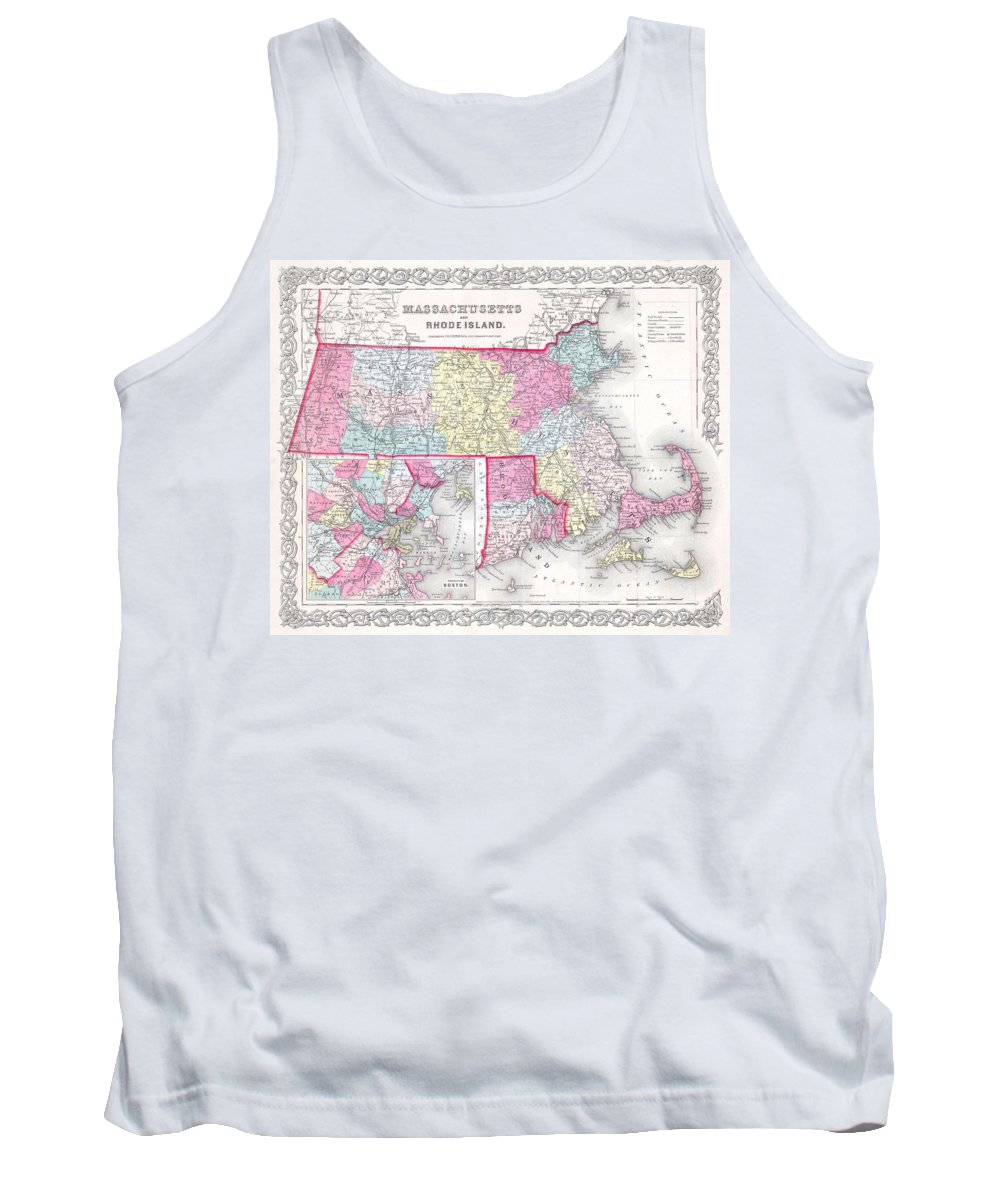 Tank Top featuring the photograph 1855 Colton Map Of Massachusetts And Rhode Island by Paul Fearn