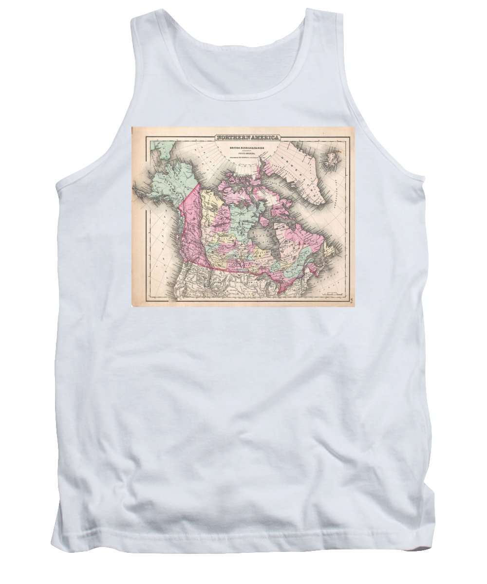 Tank Top featuring the photograph 1857 Colton Map Of Canada And Alaska by Paul Fearn