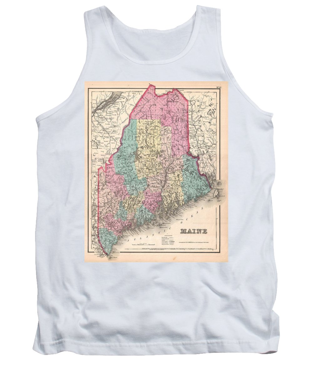 Tank Top featuring the photograph 1857 Colton Map Of Maine by Paul Fearn