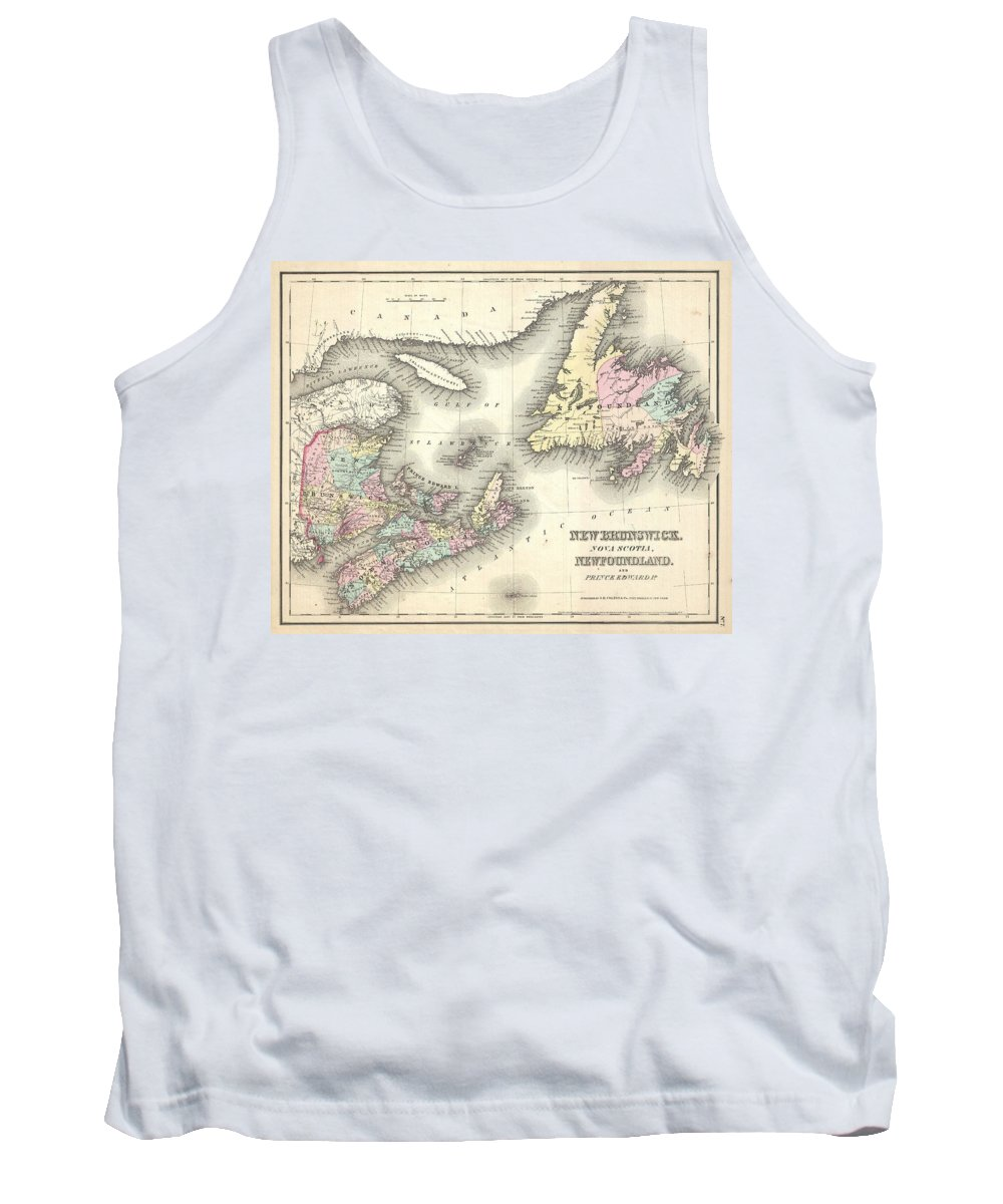 Tank Top featuring the photograph 1857 Colton Map Of New Brunswick And Newfoundland Canada by Paul Fearn