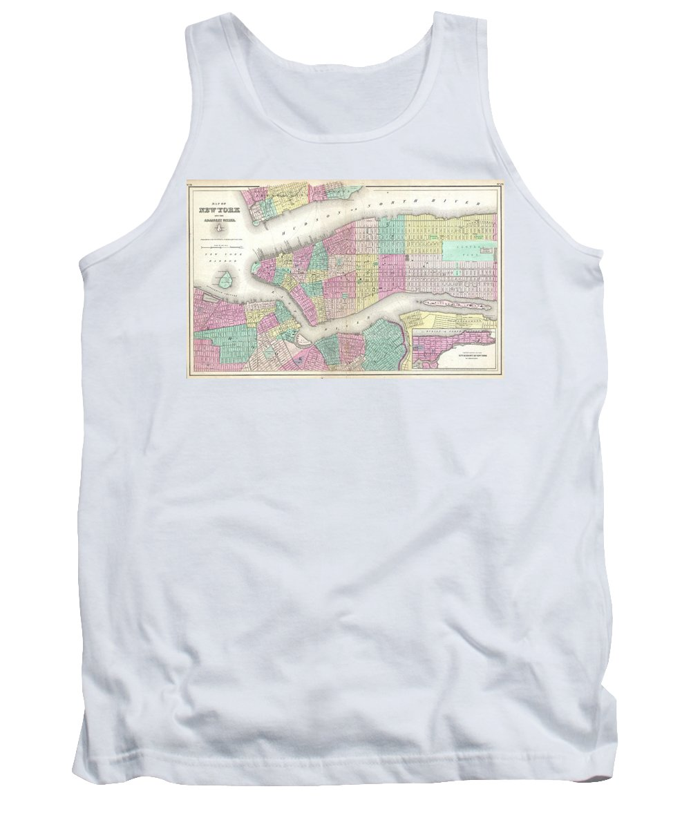 Tank Top featuring the photograph 1857 Colton Map Of New York City by Paul Fearn