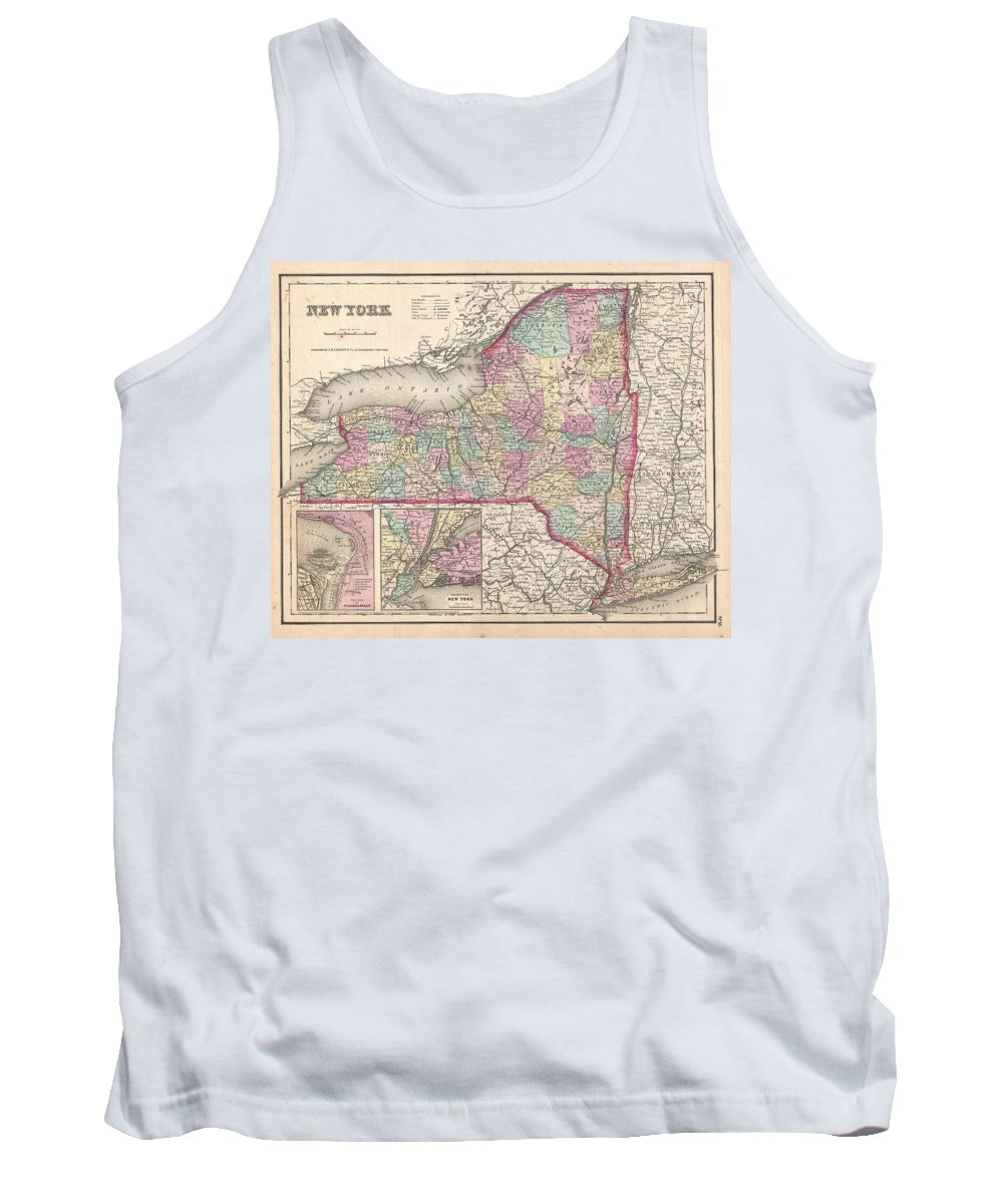 Tank Top featuring the photograph 1857 Colton Map Of New York by Paul Fearn