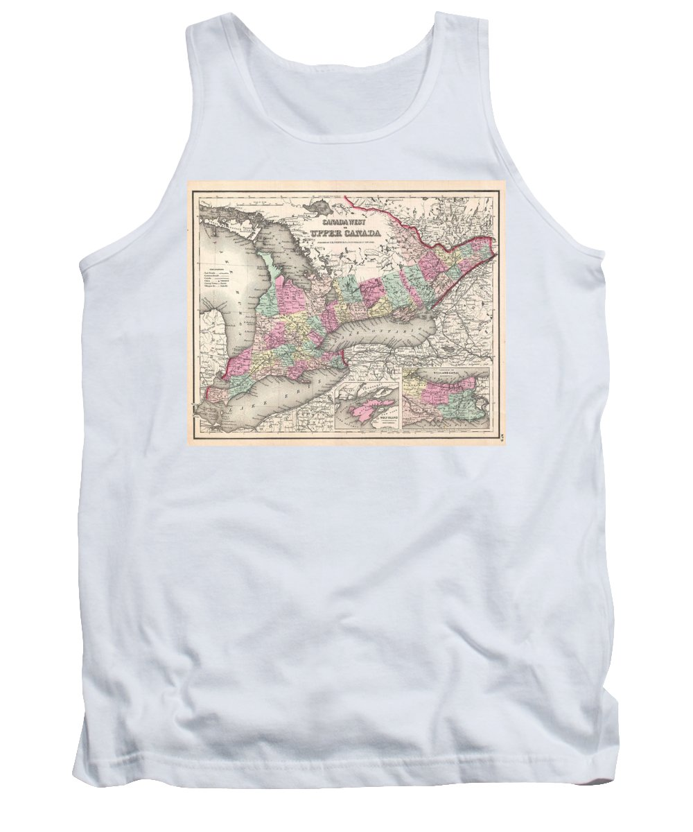 Tank Top featuring the photograph 1857 Colton Map Of Ontario Canada by Paul Fearn