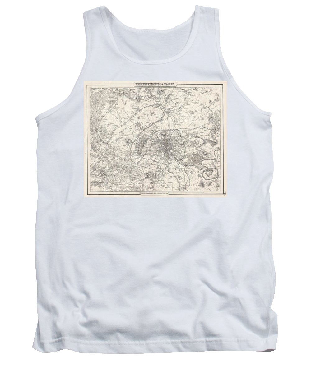 Tank Top featuring the photograph 1857 Colton Map Of Paris by Paul Fearn