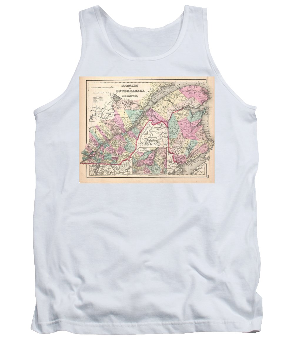 Tank Top featuring the photograph 1857 Colton Map Of Quebec And New Brunswick Canada by Paul Fearn