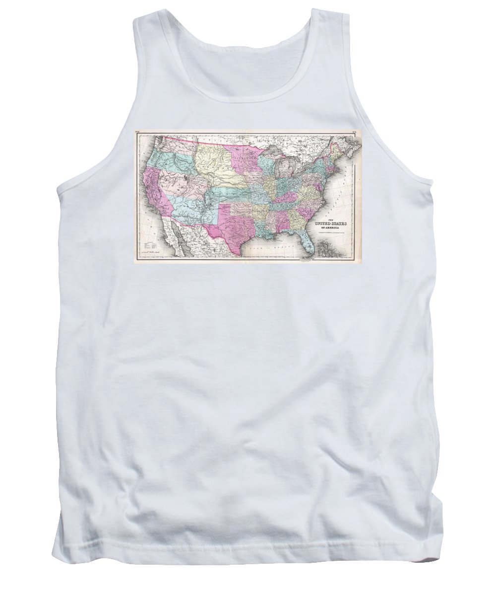 Tank Top featuring the photograph 1857 Colton Map Of The United States by Paul Fearn