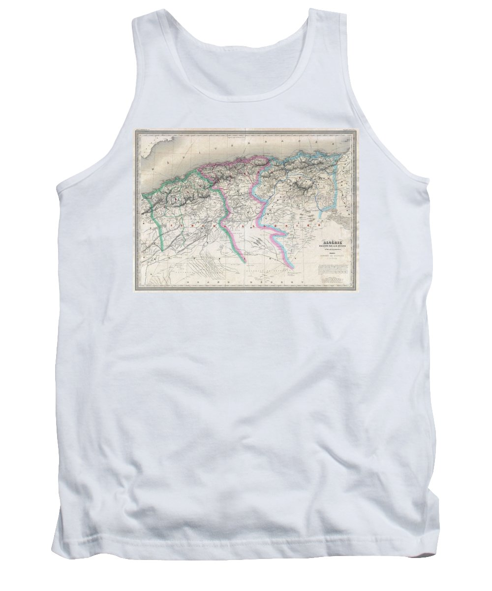 Tank Top featuring the photograph 1857 Dufour Map Of Algeria by Paul Fearn