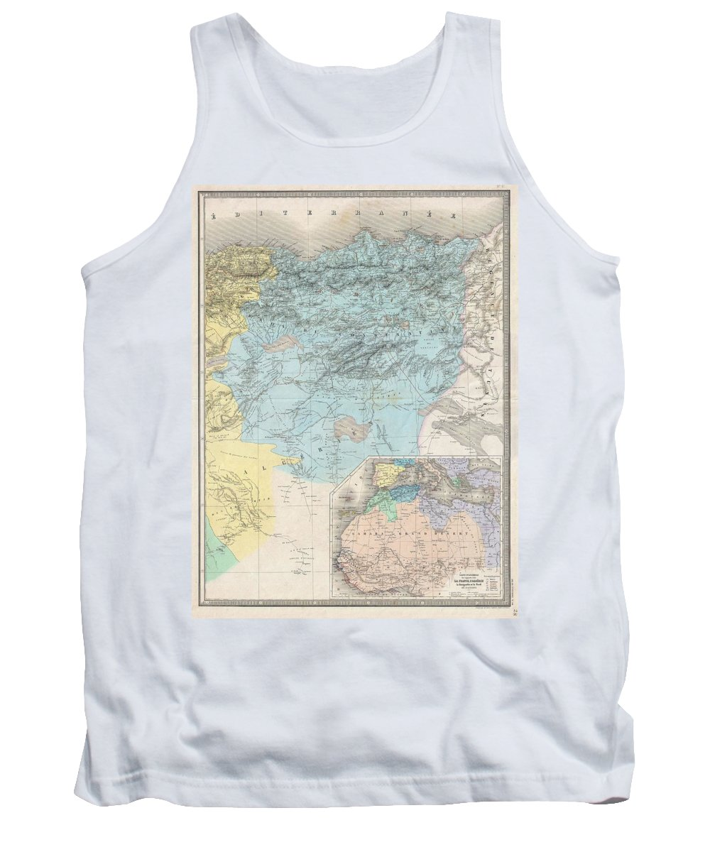 Tank Top featuring the photograph 1857 Dufour Map Of Constantine Algeria by Paul Fearn