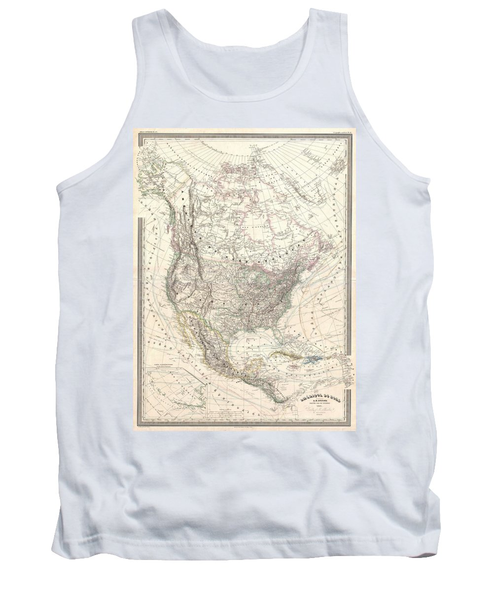 Tank Top featuring the photograph 1857 Dufour Map Of North America by Paul Fearn