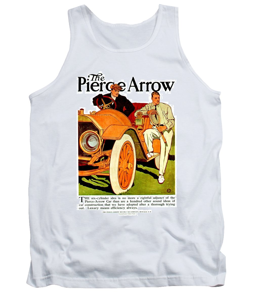 1910 Pierce Arrow Tank Top featuring the digital art 1910 - Pierce Arrow Automobile Advertisement Poster - Color by John Madison