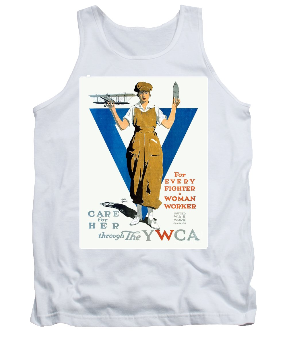 1918 Tank Top featuring the digital art 1918 - Ywca Patriotic Poster - World War One - Color by John Madison