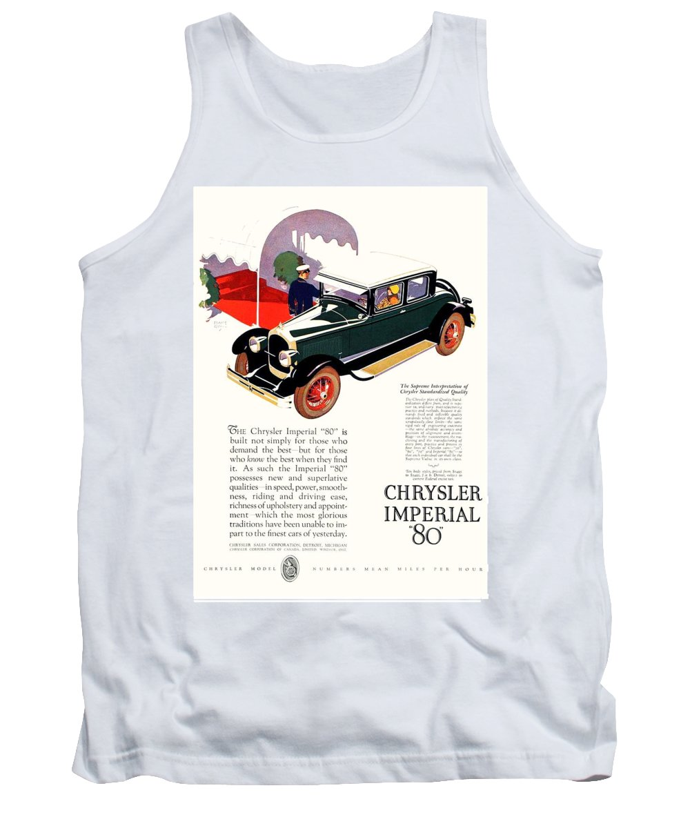 1926 Tank Top featuring the digital art 1926 - Chrysler Imperial Convertible Model 80 Automobile Advertisement - Color by John Madison