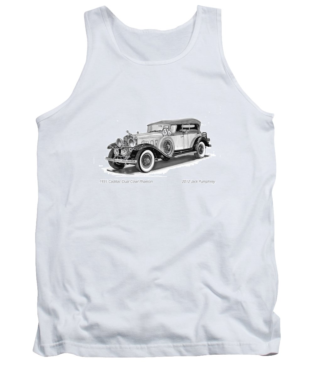Pen And Ink Art Of Classic 1931 Cadillac Dual Cowl Phaeton By Jack Pumphrey Tank Top featuring the painting 1931 Cadillac Phaeton by Jack Pumphrey