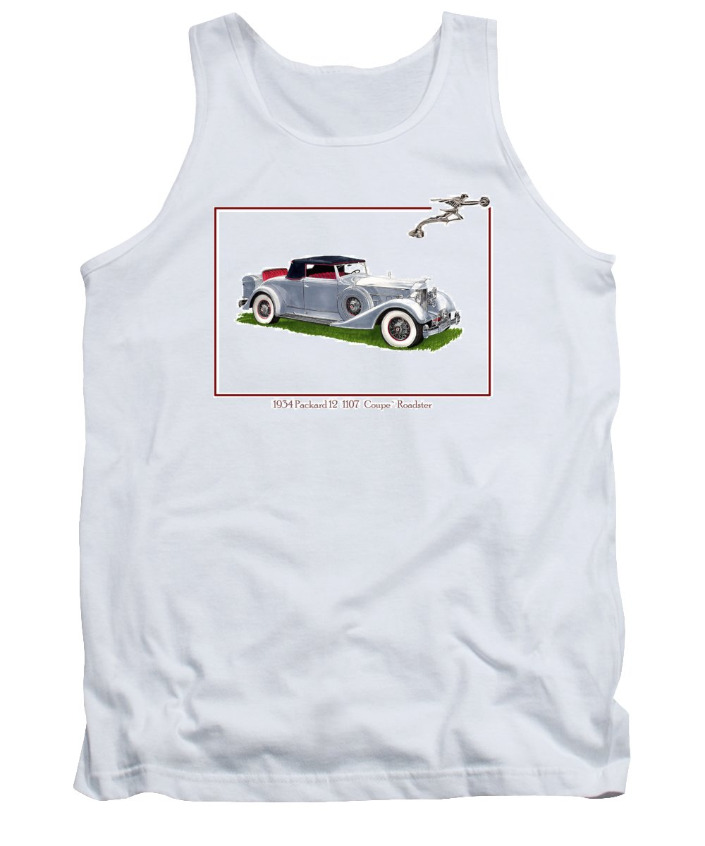 Watercolor Art Of A 1934 Packard V-12 1107 Coupe Roadster Tank Top featuring the painting 1934 Packard Twelve 1107 Coupe by Jack Pumphrey
