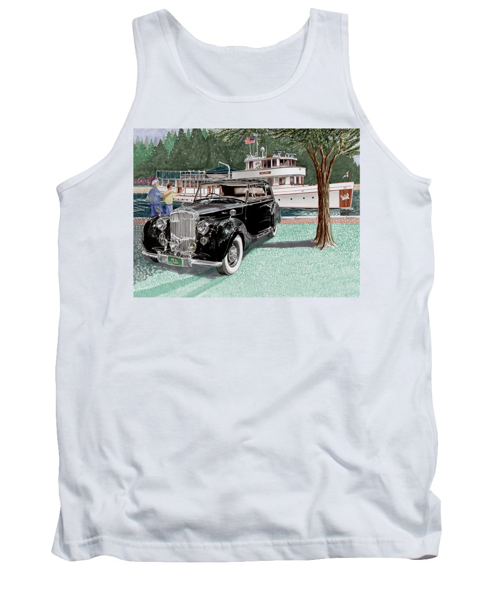 Classic 1936 Bentley British Car Art Tank Top featuring the painting Bentley Waving To Malibu by Jack Pumphrey