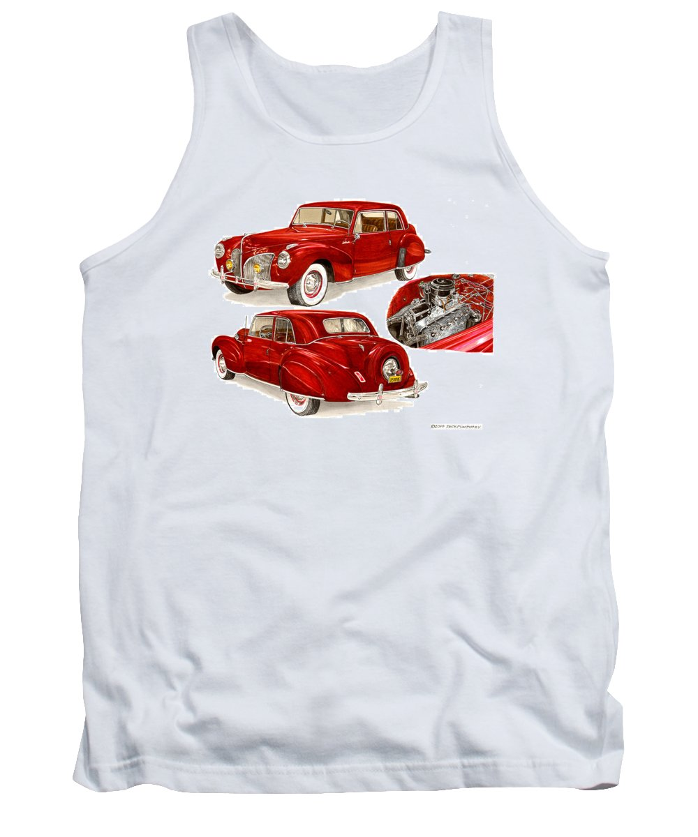 A Jack Pumphrey Watercolor Painting Of A 1941 Lincoln Continental Tank Top featuring the painting 1941 V 12 Lincoln Continental by Jack Pumphrey
