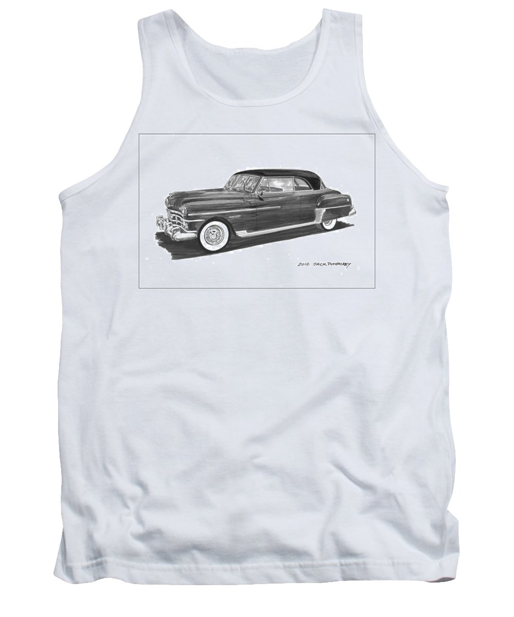 Framed Prints Of Pen And Ink Wash Paintings Of Cars From The 30s Tank Top featuring the painting 1950 Chrysler Newport by Jack Pumphrey