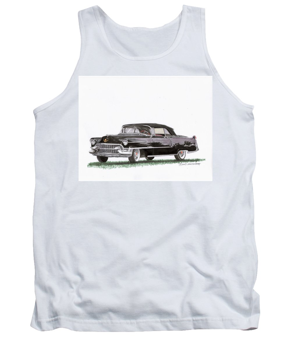 Classic Car Paintings Tank Top featuring the painting 1955 Cadillac Series 62 Convertible by Jack Pumphrey