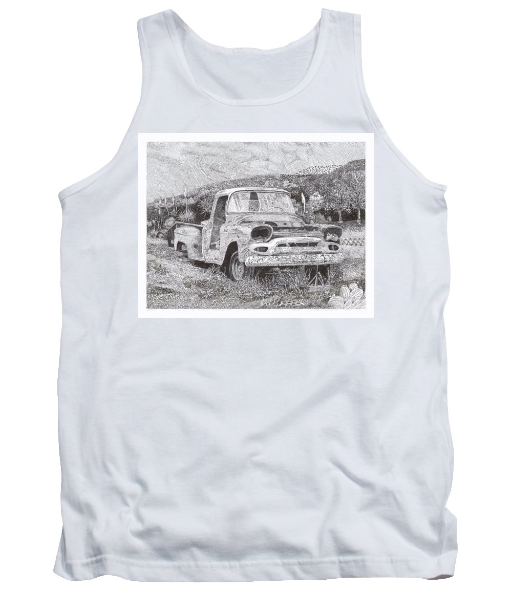 Classic 1957 Gmc Pick Up That's Seen Better Days Tank Top featuring the drawing Ran When Parked by Jack Pumphrey