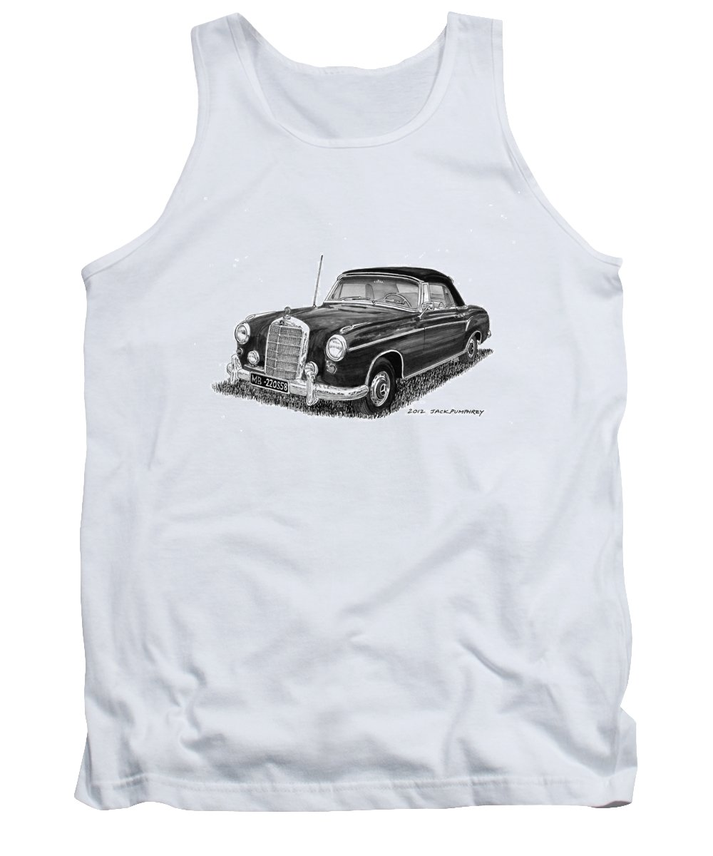Mercedes Benz 220s Tank Top featuring the painting 1958 Mercedes Benz 220s by Jack Pumphrey