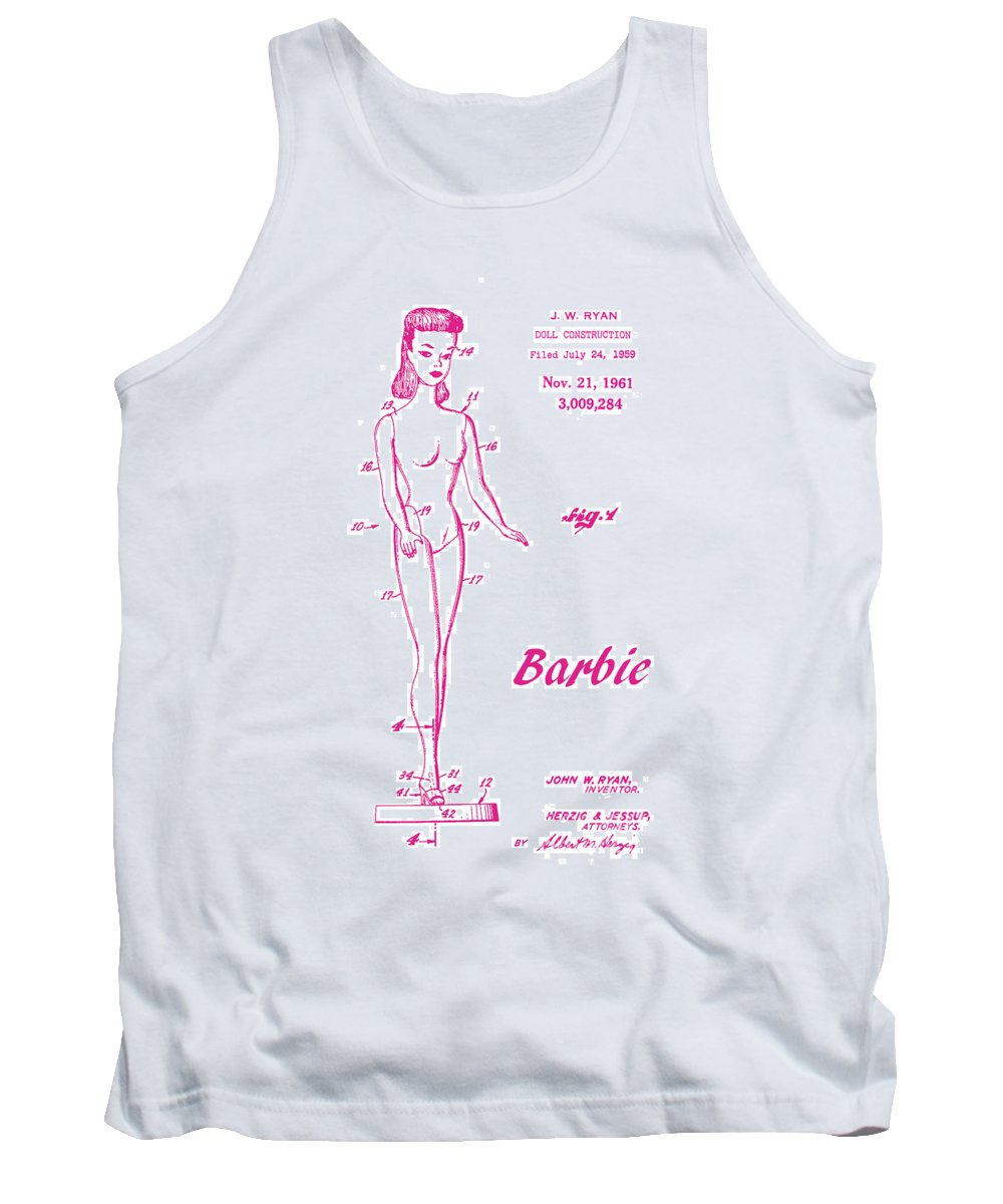 Patent Art Tank Top featuring the digital art 1961 Barbie Doll Patent Art 3 by Nishanth Gopinathan