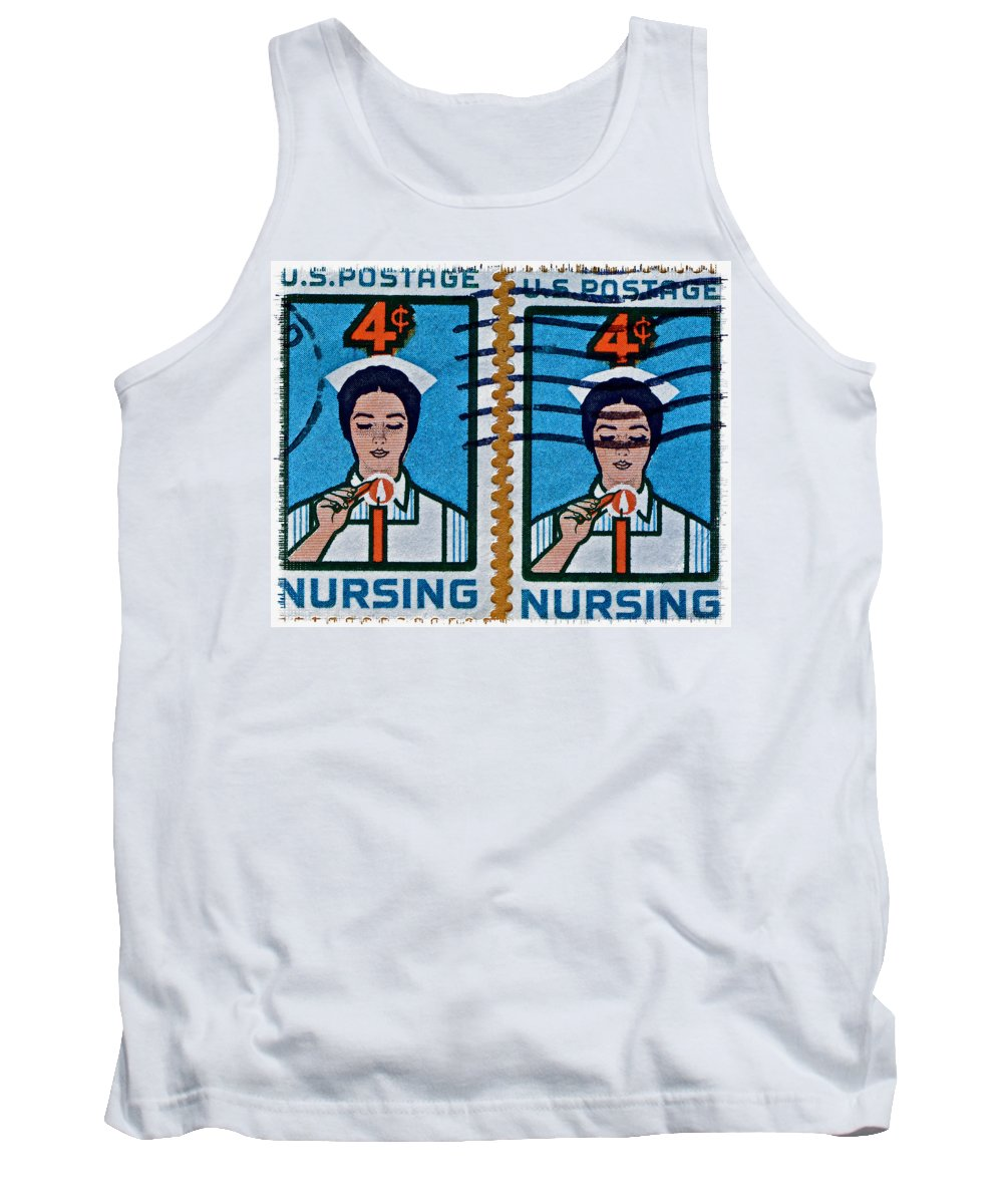 1962 Tank Top featuring the photograph 1962 Nursing Stamp Collage by Bill Owen