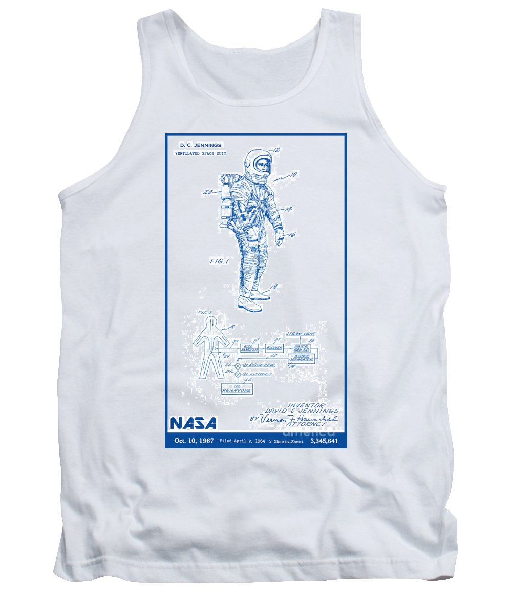 Nasa Tank Top featuring the digital art 1967 Nasa Astronaut Ventilated Space Suit Patent Art 2 by Nishanth Gopinathan