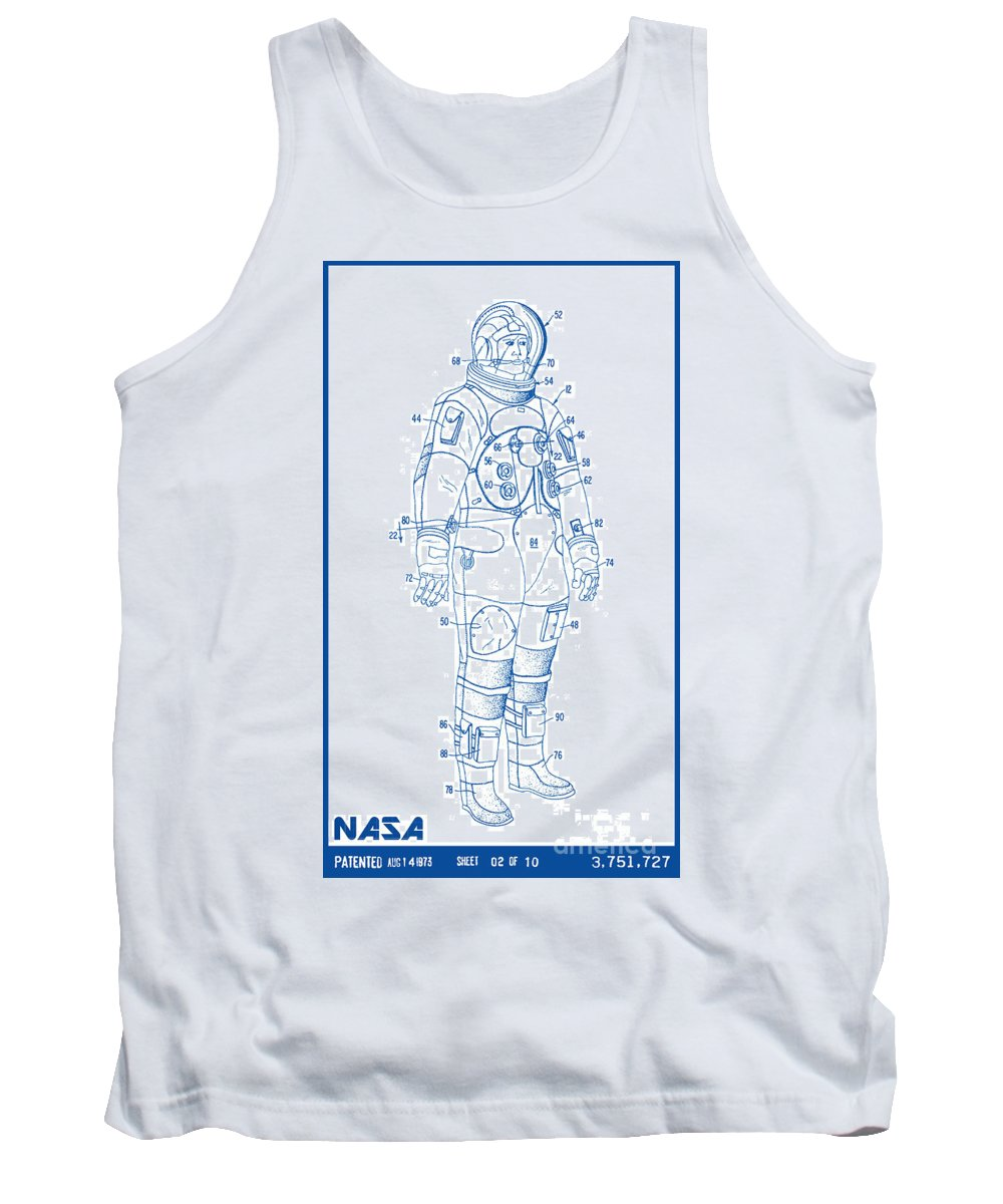Nasa Tank Top featuring the digital art 1973 Nasa Astronaut Space Suit Patent Art 2 by Nishanth Gopinathan