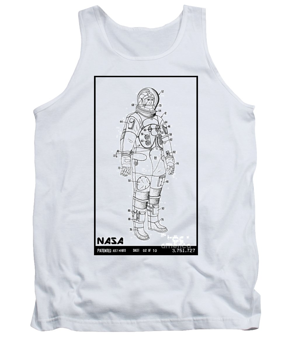 Nasa Tank Top featuring the digital art 1973 Nasa Astronaut Space Suit Patent Art 3 by Nishanth Gopinathan
