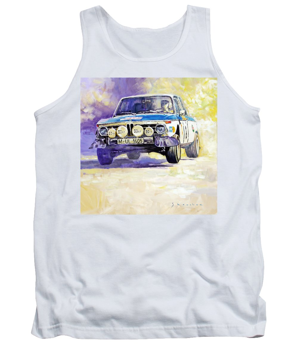 Acrilic On Canvas Tank Top featuring the painting 1973 Rallye Of Portugal Bmw 2002 Warmbold Davenport by Yuriy Shevchuk
