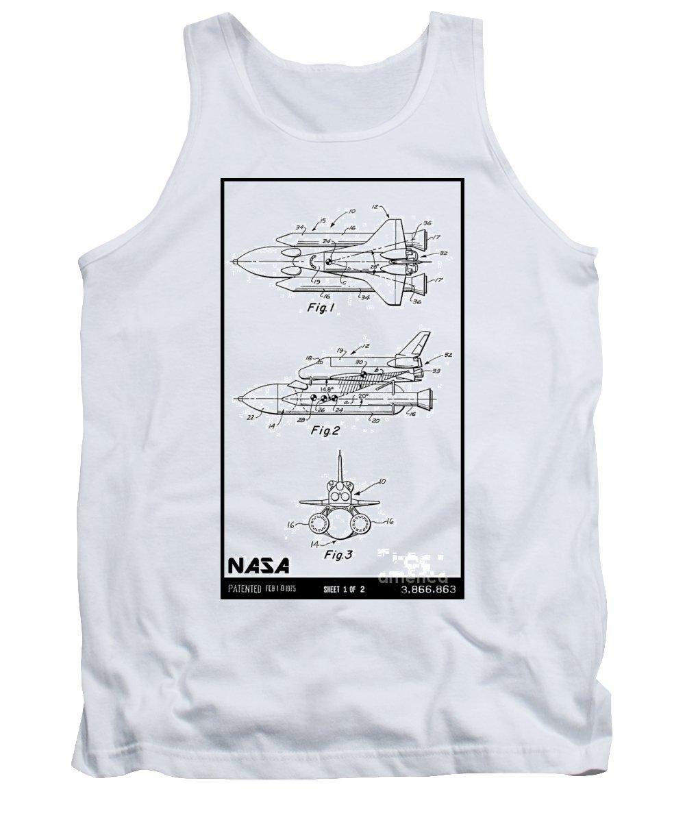 Nasa Tank Top featuring the digital art 1975 Nasa Space Shuttle Patent Art 3 by Nishanth Gopinathan