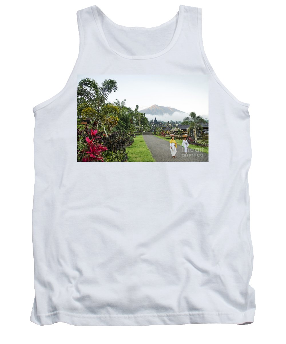 Agung Tank Top featuring the photograph Besakih Temple And Mount Agung View In Bali Indonesia by Jacek Malipan