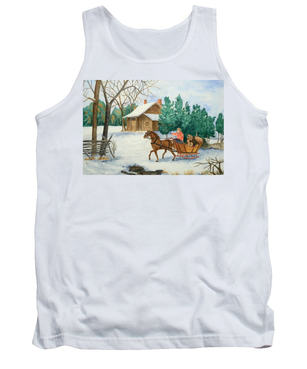 Winter Tank Top featuring the painting Bo And Ozark - Dashing The Fab Two by Rhonda Leonard