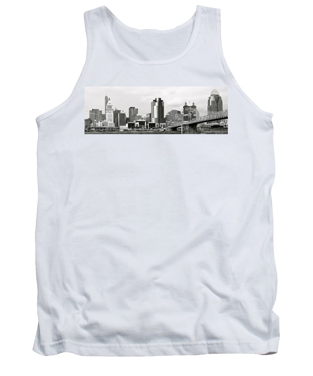 B&w Tank Top featuring the photograph Cincinnati Black And White Panorama by Frozen in Time Fine Art Photography