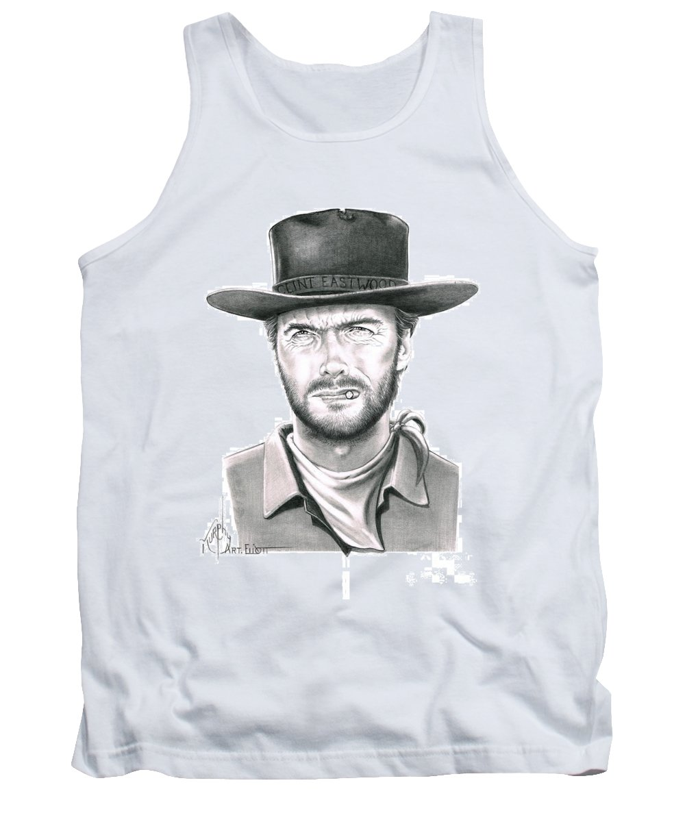 Pencil Tank Top featuring the drawing Clint Eastwood by Murphy Elliott