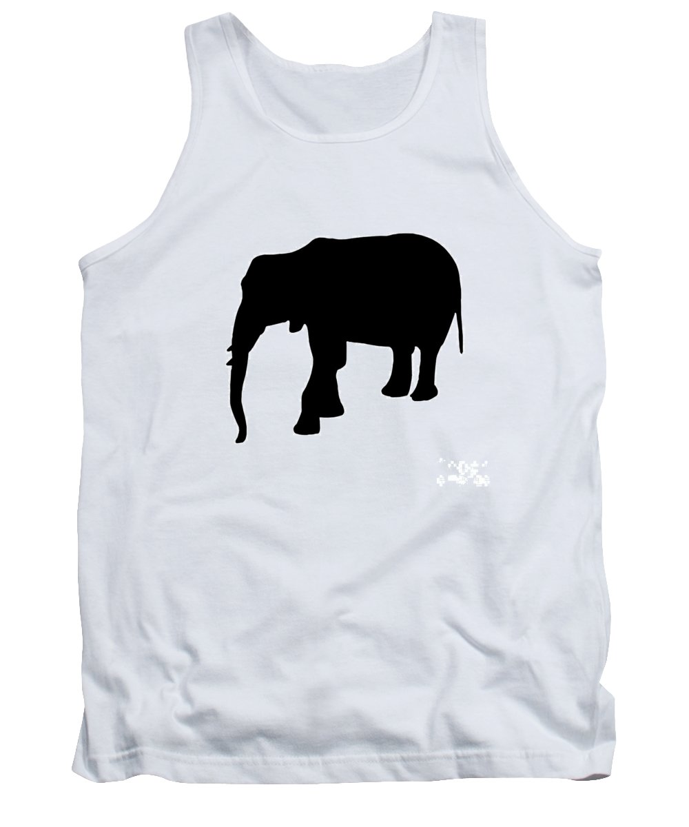 Graphic Art Tank Top featuring the digital art Elephant In Black And White by Jackie Farnsworth