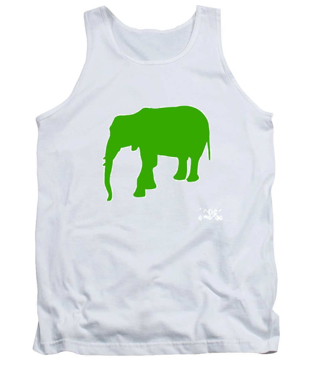 Graphic Art Tank Top featuring the digital art Elephant In Green And White by Jackie Farnsworth