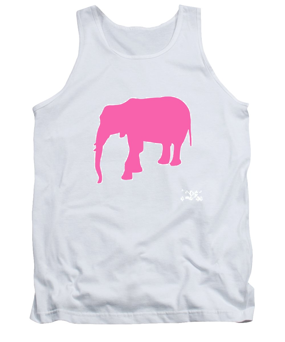 Graphic Art Tank Top featuring the digital art Elephant In Pink And White by Jackie Farnsworth