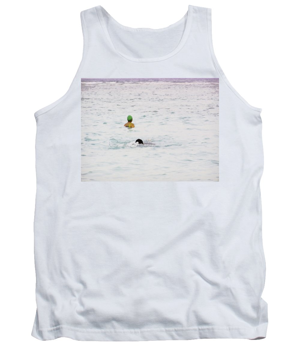 Action Tank Top featuring the digital art Enjoying The Water In The Coral Reef Lagoon by Ashish Agarwal