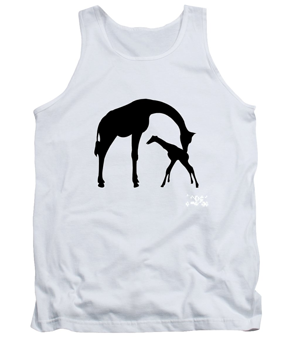 Graphic Art Tank Top featuring the digital art Giraffe In Black And White by Jackie Farnsworth
